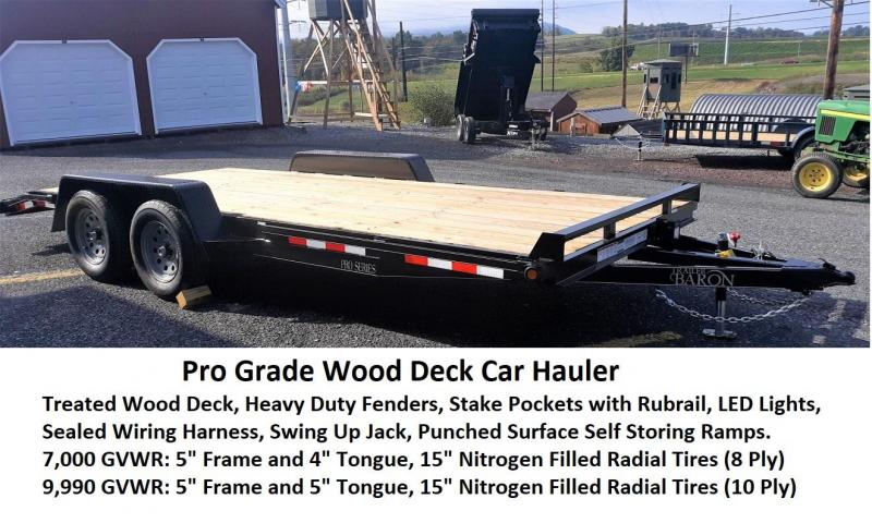 "Pro-Grade Wood Deck Car Hauler 18' 7K -5' Punched Surface Ramps -5"" Channel Frame -4"" Tongue -2' Dovetail -LED Lights -Heavy Duty Fenders -15"" 8 Ply Nitrogen Filled Radial Tires"