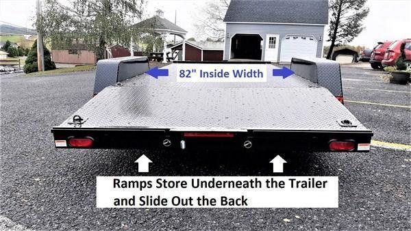"General Duty Diamond Deck Car Hauler 18' 7K - 5' Self Storing Ramps -5"" Channel Frame -4"" Channel Tongue -4' Dovetail -6 D-Rings On Floor -Heavy Duty Fenders -15"" Nitrogen Filled Radial Tires"