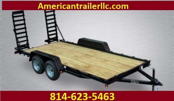 """Economy Equipment 16' 8.5K -5' Swing Up Ramps -5"""" Frame -4"""" Tongue -No Dove -Stake Pockets -15"""" Nitrogen Filled Radial Tires"""