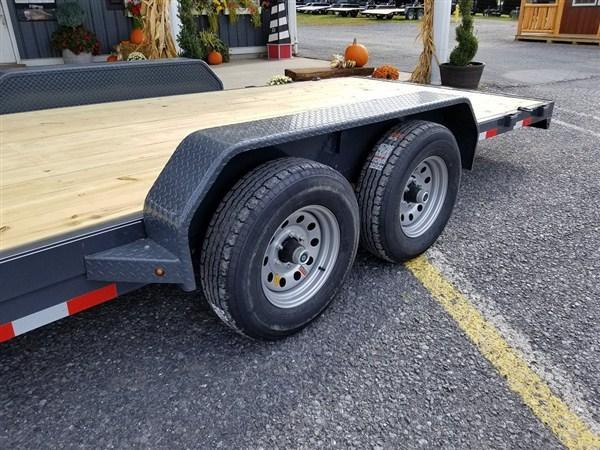 "X-ON Wood Deck Car Hauler 83""x22' 7K -5"" Channel Frame -5' Slide In Ramps -5K Jack -Teardrop Fenders -Straight Deck -LED Lights -15"" Radial Tires"