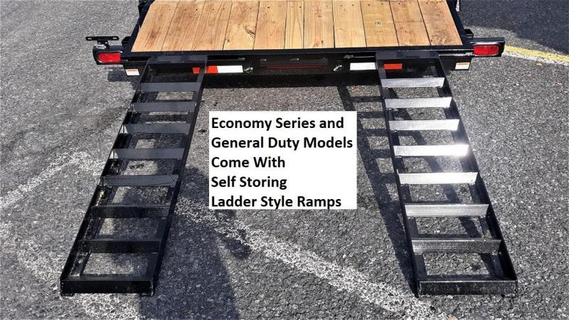 "General Duty Wood Deck Car Hauler 18' 8500 GVWR -5' Self Storing Ramps -5"" Channel Frame -5"" Channel Tongue -2' Dovetail -Sealed Beam Lighting -Heavy Duty Fenders -15"" Nitrogen Filled Radial Tires"