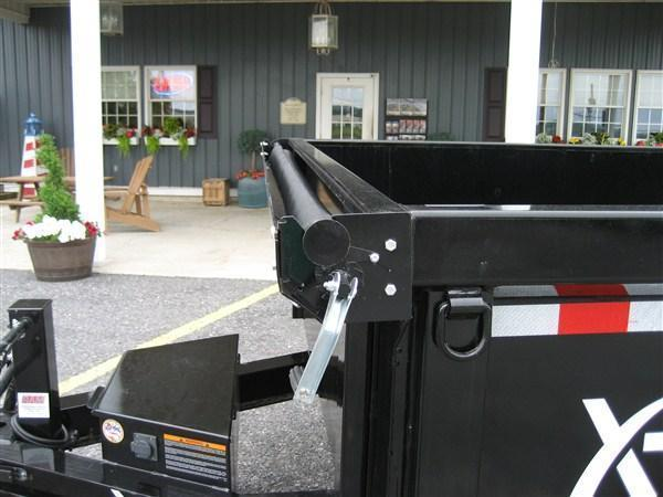 """X-ON Low Profile Dump 60""""x10' 10K Equipment Gray Paint -Scissor Lift -5' Slide In Ramps -6"""" Channel Frame -Tarp Kit Installed -LED Lights -10 Gauge Floor -Spare Mount -Toolbox & Battery Charger -Power Up & Down -15"""" 10 Ply Radial Tires"""