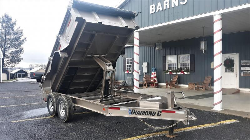 "Diamond C Low Profile Dumper 82""x12' 14.9K -Scissor Lift -8"" I-Beam Frame -12K Drop Leg Jack -7,000# Straight Axles -16"" Radial Tires -20' Tarp Kit Installed"