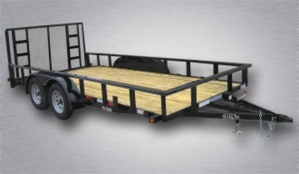 "Pro-Grade Tandem Axle Landscape 18' 7K -4' Spring Assisted Gate -Tube Top Rail -3""x3""x1/4"" Angle Frame -4"" Channel Tongue -2' Dovetail -LED Lights -82"" Inside Width -15"" 8 Ply Nitrogen Filled Radial Tires"