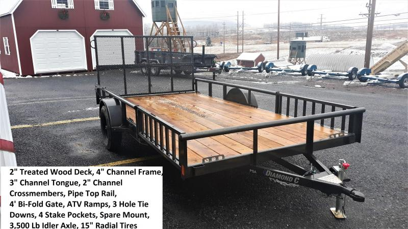 "Diamond C Premium Single Axle Utility Trailer 14'x83"" 2990 GVWR -(Metallic Gray) -4"" Channel Frame -3"" Channel Tongue -1-3500 lb. Idler Axle -48"" Bi-Fold Gate & Side Gate -2-3/8"" Pipe Top -15"" Radial Tires (Black Rim)"