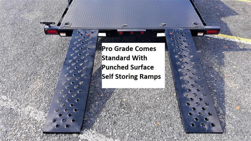 """Pro-Grade Diamond Deck Car Hauler 20' 10K -5' Punched Surface Ramps -6""""x2"""" Tube Frame & Tongue -4' Dovetail -6 D-Rings & Stake Pockets With Rubrail -Heavy Duty Fenders -15"""" 10 Ply Nitrogen Filled Radial Tires"""