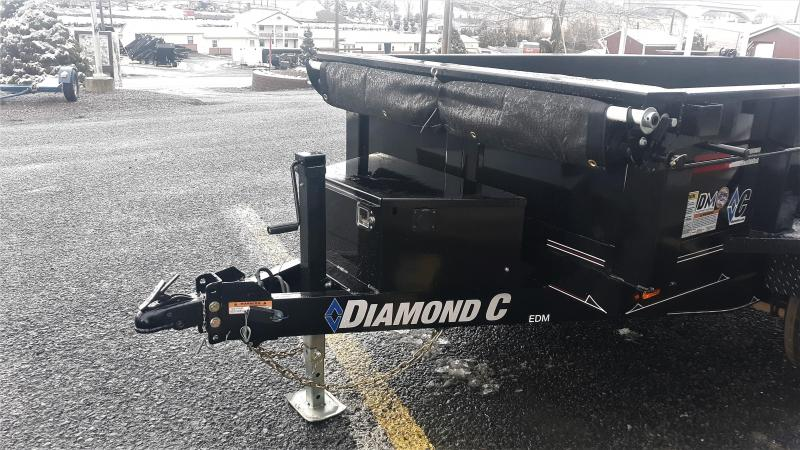 "Diamond C Medium Duty Dump Trailer 10'x60"" 10K -60"" Slide In Ramps -5"" Channel Frame -Spare Mount -16' Tarp Installed -18"" Sides -12 Gauge Floor & Sides -15"" Radial Tires"