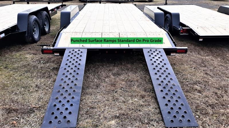 """Pro-Grade Wood Deck Car Hauler 20' 10K -5' Punched Surface Ramps -5"""" Channel Frame & Tongue -2' Dovetail -LED Lights -Heavy Duty Fenders -15"""" 10 Ply Nitrogen Filled Radial Tires"""