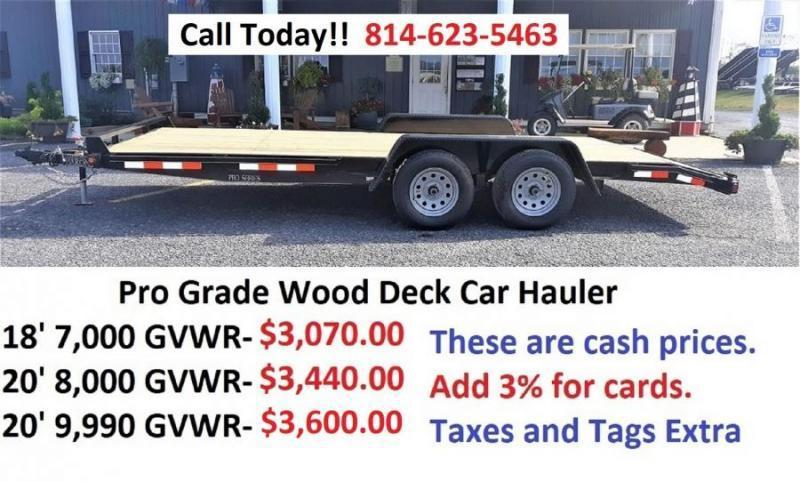 "Pro-Grade Wood Deck Car Hauler 20' 10K -5' Punched Surface Ramps -5"" Channel Frame & Tongue -2' Dovetail -LED Lights -Heavy Duty Fenders -15"" 10 Ply Nitrogen Filled Radial Tires"