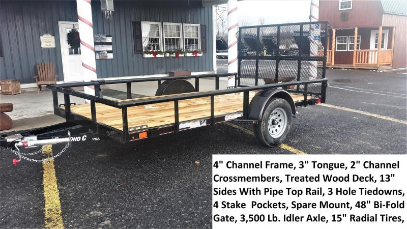 "Diamond C Premium Single Axle Utility Trailer 12'x77"" 2990 GVWR -Black Color -4"" Channel Frame -3"" Channel Tongue -1-3500 lb. Idler Axle -48"" Bi-Fold Gate -2-3/8"" Pipe Top -15"" Radial Tires"