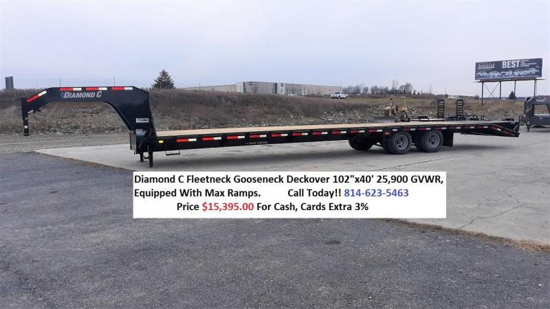 "Diamond C Gooseneck Deckover 102""x40' 25.9K - Max Ramps -16"" Engineered Beam Frame -12"" Engineered Neck -12,000# Oil Bath Axles -HDSS Suspension -16"" Dual Nitrogen Filled Radial Tires"