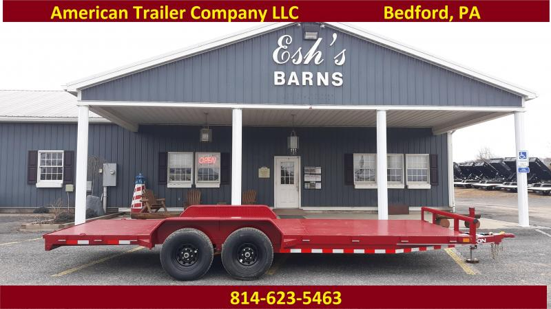 "X-ON Steel Deck Car Hauler 83""x20' 9990 GVWR  -Red Paint -5"" Channel Frame -5' Slide In Ramps -7K Jack -Teardrop Fenders -Straight Deck -LED Lights -15"" Black Spoke Radial Tires"