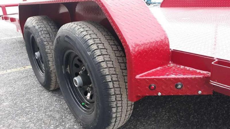 "X-ON Steel Deck Car Hauler 83""x20' 9990 GVWR  -Red Paint -5"" Channel Frame -5' Slide In Ramps -7K Jack -Teardrop Fenders -Straight Deck -LED Lights -15"" Black Spoke Radial Tires"