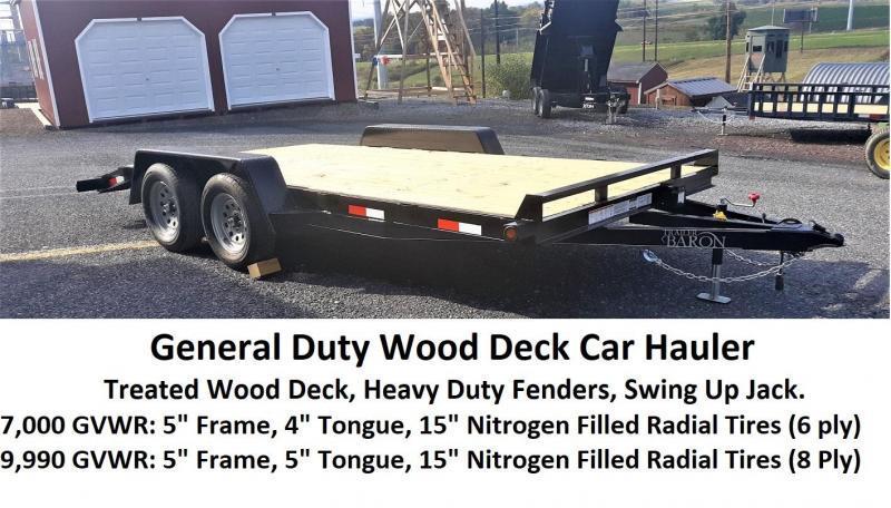 "General Duty Wood Deck Car Hauler 20' 10K -5' Self Storing Ramps -5"" Channel Frame -5"" Channel Tongue -2' Dovetail -Sealed Beam Lighting -Heavy Duty Fenders -15"" Nitrogen Filled Radial Tires"