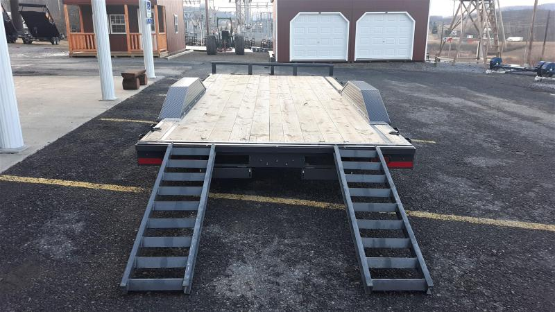 "X-ON Wood Deck Car Hauler 102""x22' 10K -5"" Channel Frame -5' Slide In Ramps -7K Jack -Drive Over Fenders -Straight Deck -LED Lights -15"" Radial Tires"