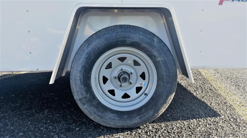 """Wells Cargo FastTrac Single Axle Enclosed 6x12 2990 GVWR -Ramp Door -V-Nose -White Color -32"""" Side Door -6' Inside Height -1-3.5K Idler Axle -15"""" Radial Tires"""