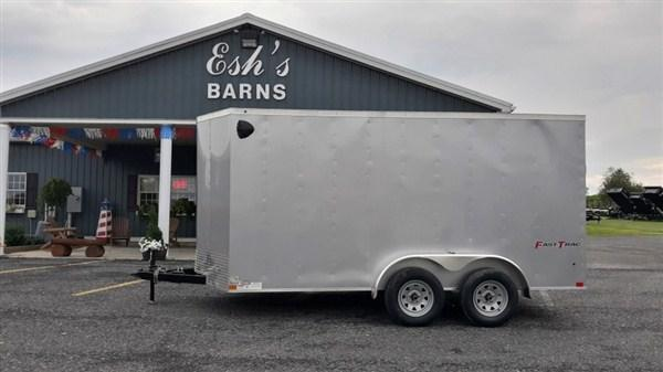 "Wells Cargo FastTrac Tandem Axle Enclosed 7'x14' 7K -Silverfrost -Ramp Door -Side Door -V-Nose -6'6"" Inside Height - Screw Pattern Exterior -15"" Radial Tires"