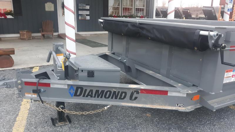 "Diamond C Low Profile Dumper 82""x14' 14.9K (Cement Gray) Scissor Lift -8"" I-Beam Frame -12K Drop Leg Jack -7,000# Drop EZ Lube Axles -16"" Radial Tires - 20' Tarp Kit Included"