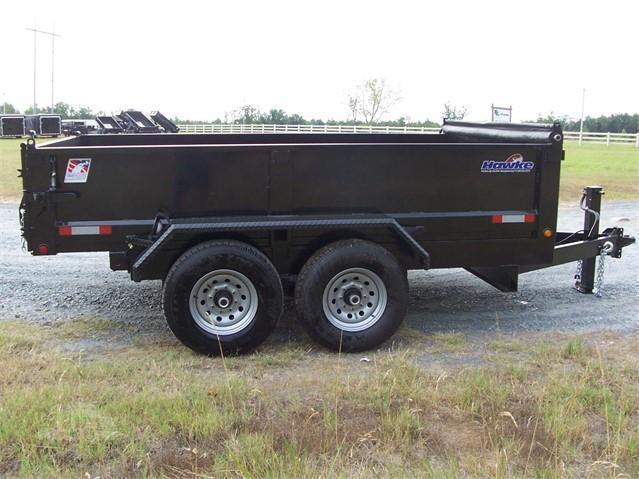 """Hawke Low Profile Dump 80""""x12' 12K -Scissor Lift -80"""" Slide In Ramps -8"""" Channel Frame -6"""" Channel Tongue -12 Gauge Floor -24"""" Sides -Two Way Tailgate -Power Up & Down -LED Lights -16"""" 10 Ply Radial Tires"""
