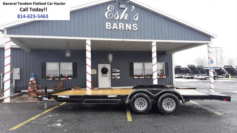 "Diamond C General Tandem Flatbed Trailer 18'x83"" 7000 GVWR :Black Color -5"" Channel Frame& Tongue -3.5K EZ Lube Braking Axles -60"" Rear Slide In Ramps -15"" Radial Tires"