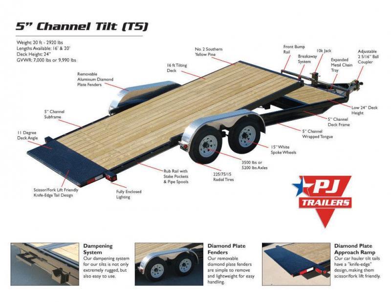 "2019 PJ Trailers 5"" Channel Tilt Carhauler (T5) 20'"