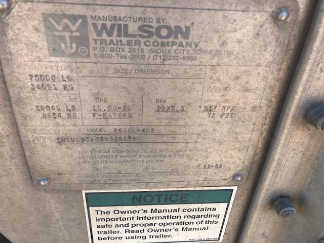 2004 Wilson 53' Triple Axle Livestock Semi Trailer