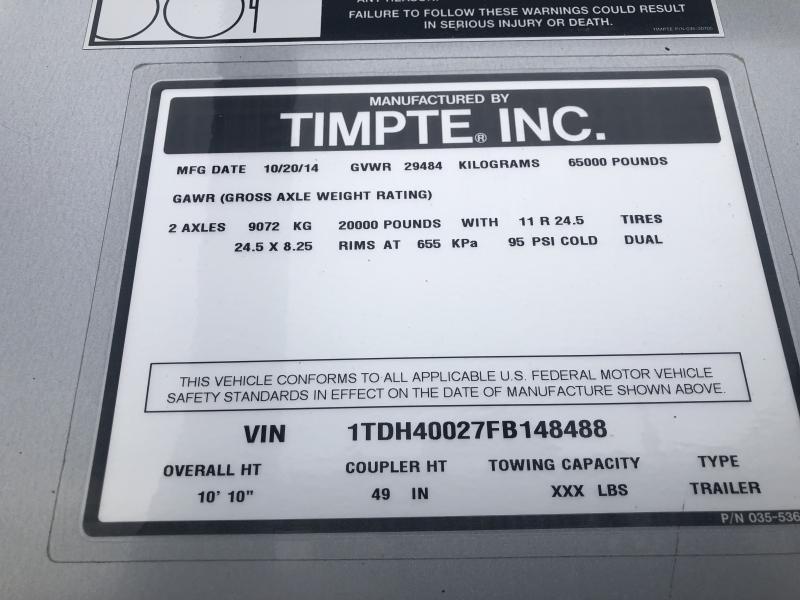 """2015 Timpte 40' x 102"""" x 72"""" Grain Hopper Trailer"""