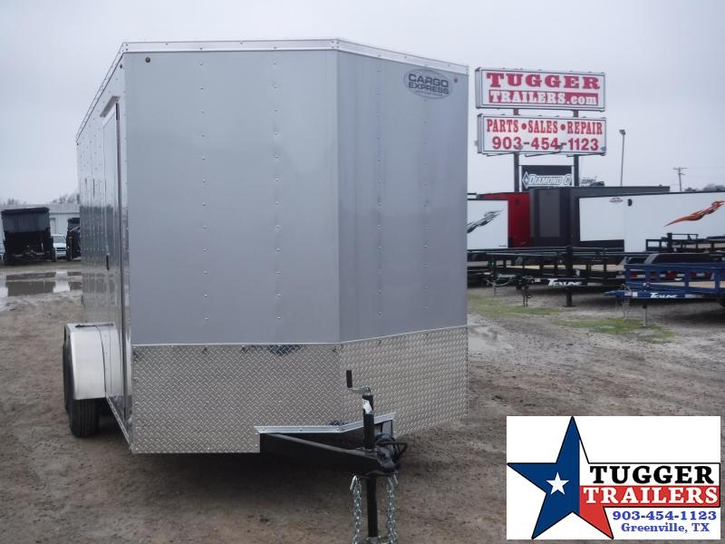 2020 Cargo Express 7x14 14ft V-Nose Silver Ramp Utility Enclosed Cargo Trailer