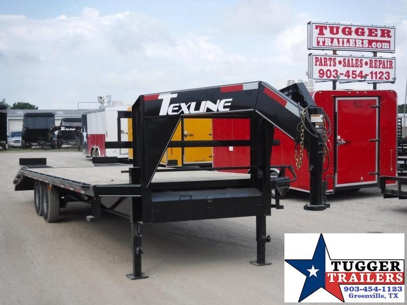 2019 TexLine 102x25 25ft Utility Equipment Deck Over Flatbed Open Gooseneck Trailer