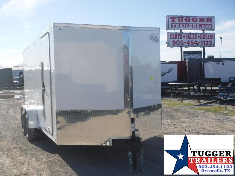 2020 Cargo Express 7x16 16ft V-Nose Screwless White Ramp Utility Enclosed Cargo Trailer