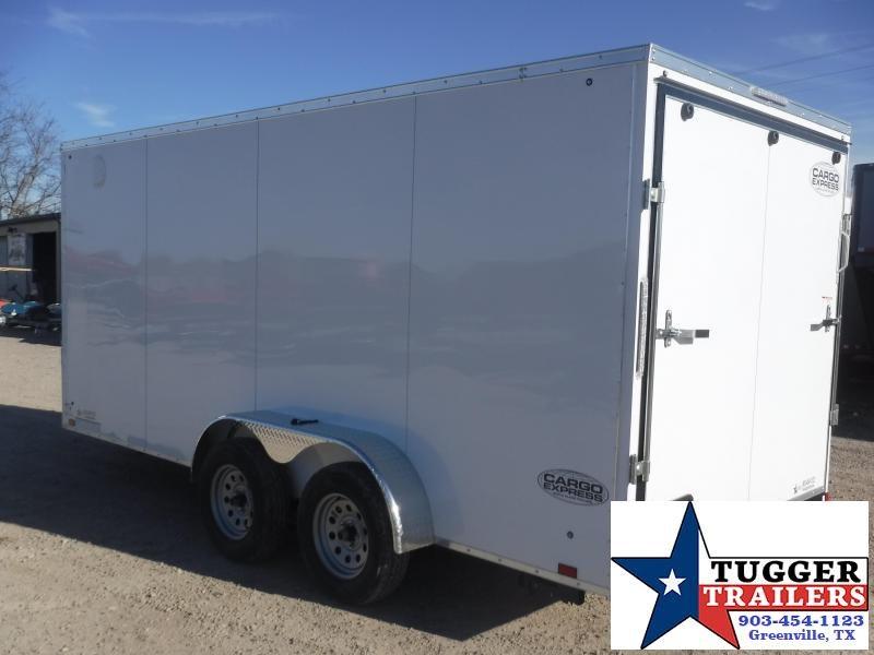 2020 Cargo Express 7x16 16ft V-Nose Screwless White Ramp Utility Enclosed Cargo Trailer