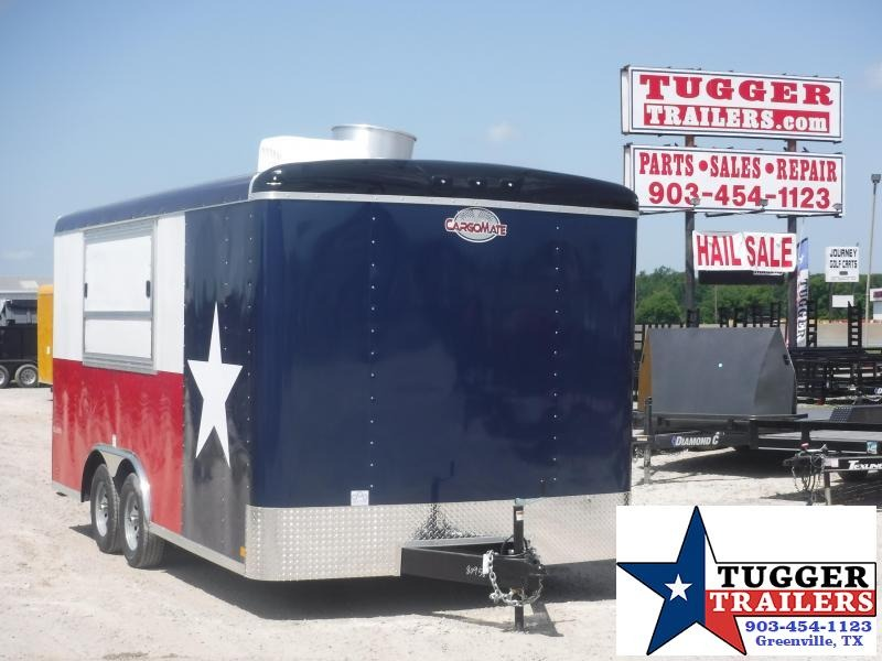 2019 Cargo Mate 8.5x16 16ft Texas Flag Vending / Concession Trailer
