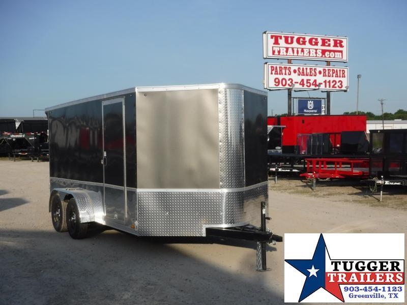 2021 Cargo Express 7x14 14ft Silver Black Utility Harley Cargo Bike Motorcycle Trailer