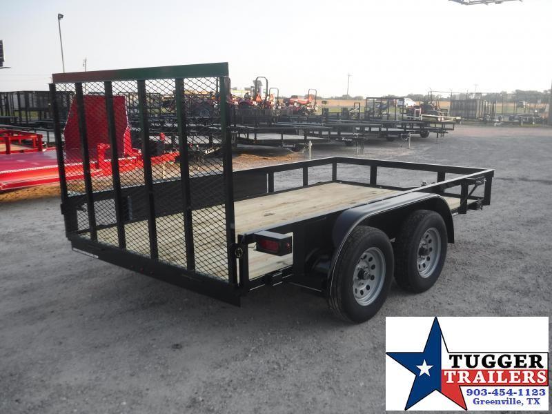 2019 TexLine 77x12 12ft Black Ramp Flatbed Utility Trailer