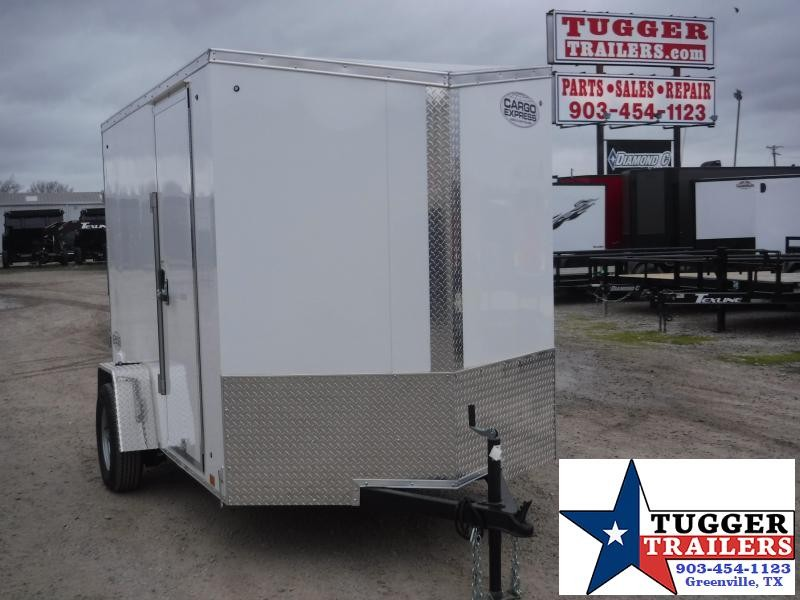 2020 Cargo Express 6x10 10ft 2' V-Nose Slope White Ramp Utility Enclosed Cargo Trailer