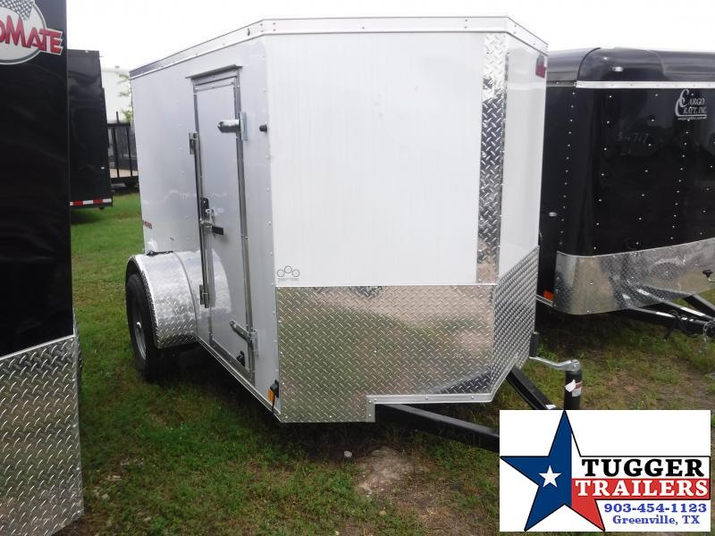 2019 HAIL SALE! Cargo Mate 5x8 8ft E-V White Double Door Enclosed Cargo Trailer