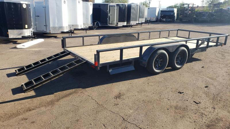 2020 Lamar Utility Trailer, Tandem Axle,  7000# GVWR, side stored ramps, Pipe Top  **Cash Dicscount*** See below