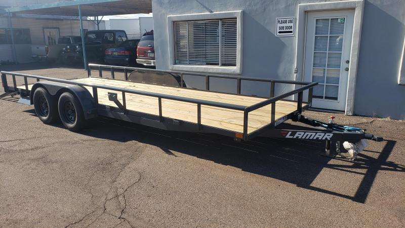 2020 Lamar Utility Trailer, Tandem Axle,  7000# GVWR, side load slide in ramps, Pipe Top  **Cash Dicscount*** See below