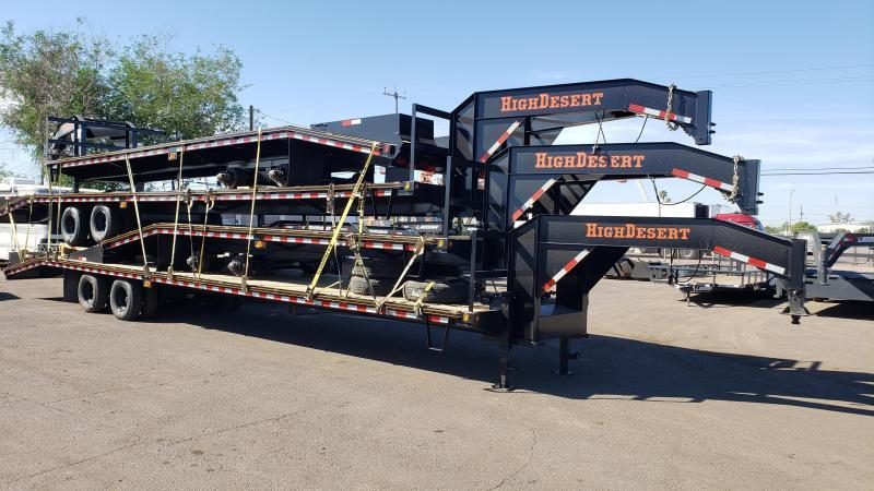 2020 High Desert FH-12k-40 Flatbed Trailer 25k GVWR-lay flat ramps with center pop up