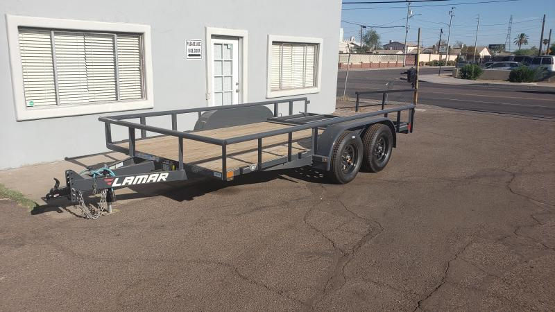 2020 Lamar UT 14' Utility Trailer- 7000# GVWR- ***Free Spare*** - Pipe Top- Lay in Spring Assisted Gate- Free Delivery- Powder Coated Finish- Sealed Wiring Harness- LED Lights