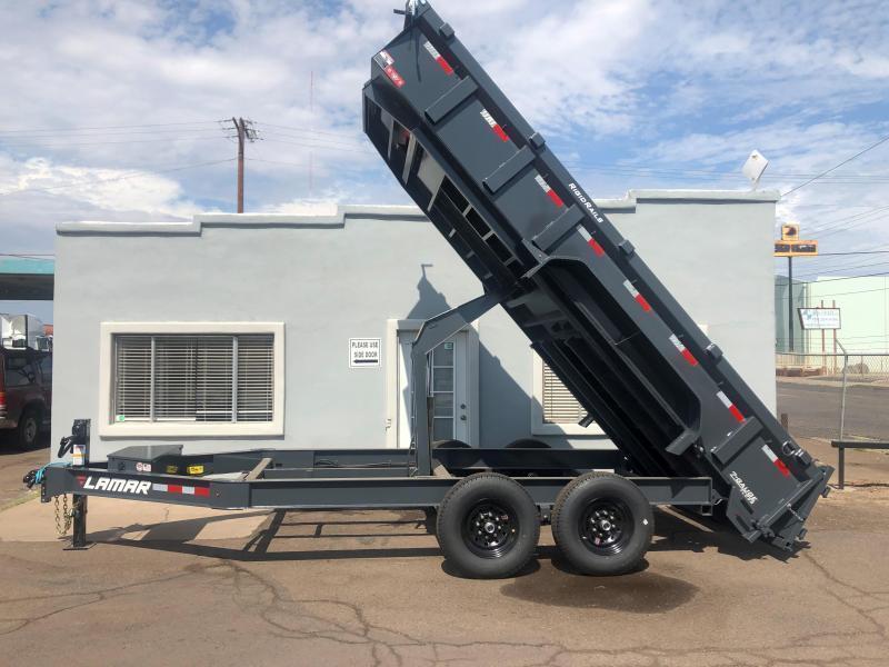 Lamar Heavy Duty Dump Trailer- 7x16- 14000# GVWR- 12 inch Cross Piece Spacing- Scissor Hoist- Ramps- Deluxe Tarp Kit- 3-way Spreader Gate- Adj Coupler- FREE SPARE TIRE- Cash Discounts (See Below)