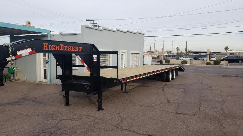2020 High Desert Trailers Flatbed Gooseneck, 12k Dexter axles, 25,000 GVWR, Lay flat Ramps with Center Pop up.