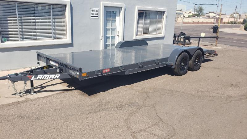 2020 Lamar 20' Open Car hauler 7000# GVWR- Steel deck- 2' dove tail- slide in rear ramps- **cash discounts** See below