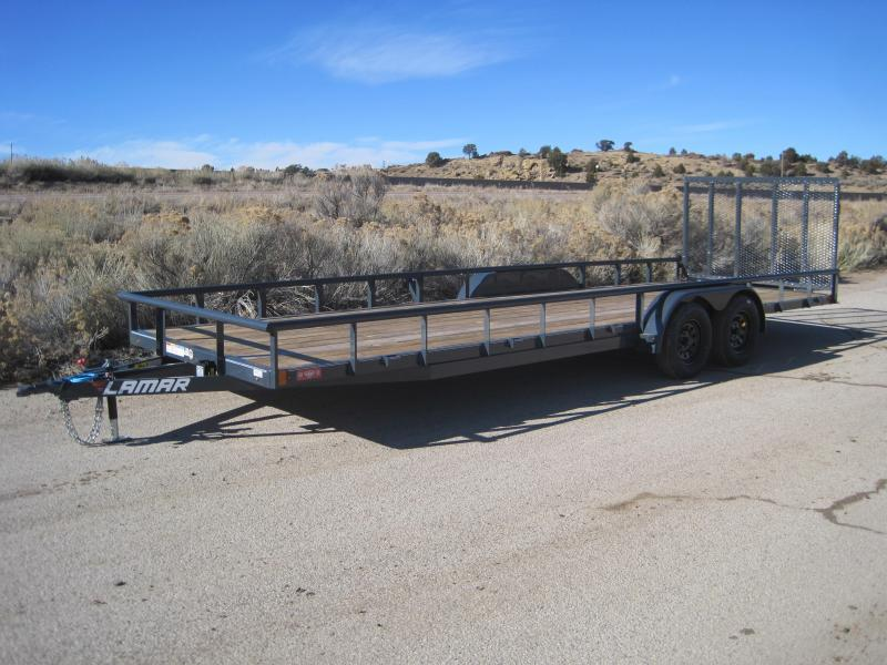 2020 Lamar Trailers Utility Trailer- 24ft Utility Trailer- Channel Frame Upgrade- Free Spare Tire- Pipe Top- Spring Assisted Gate- Free Delivery