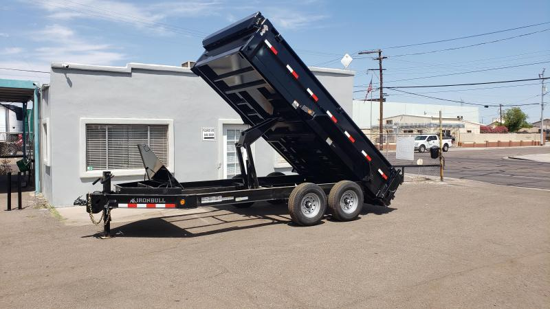 "2020 Ironbull  Dump Trailer 83"" x 14'- 8"" I-beam Frame- 14000# GVWR- Rear support stands-spreader gate-7 Gauge floor- free spare- **cash discounts** see below"