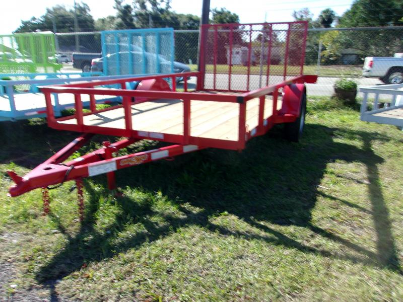 "2020 Down to Earth 76""x12' Single Axle Utility Trailer *RED*"