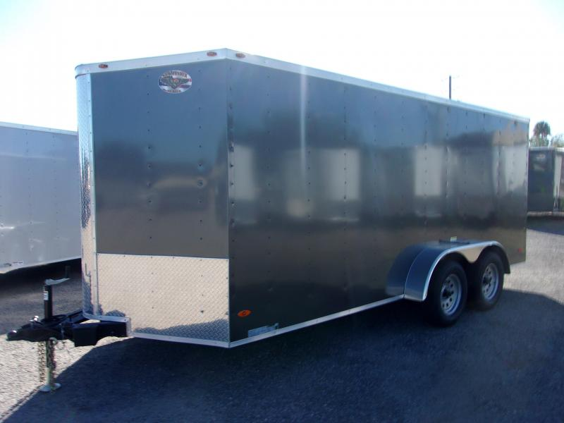 2020 7X16 Commander Series TANDEM AXLE Cargo Trailer *CHARCOAL*