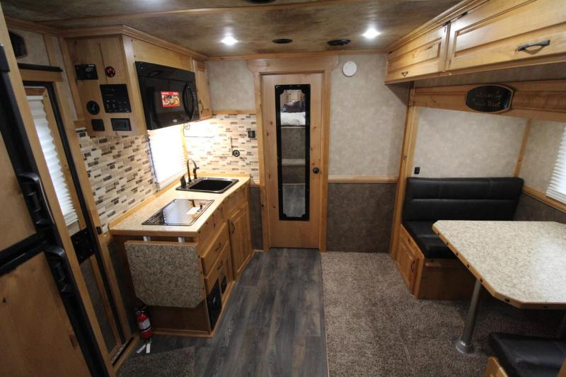 2019 Trails West Sierra 11' x 15' Living Quarters w/ Slide-out 3 Horse Trailer PRICE REDUCED - Electric Awning - Hoof Grip Flooring - Mangers w/ Storage - Escape Door