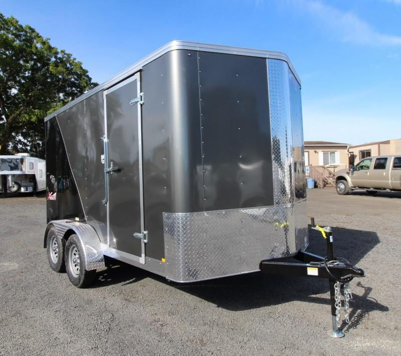 2020 Mirage Xpres 7x12 - TA Xtra Package - Charcoal / Black Enclosed Cargo Trailer - Barlock mandoor - UPGRADED rear ramp door - V nose - Flat roof