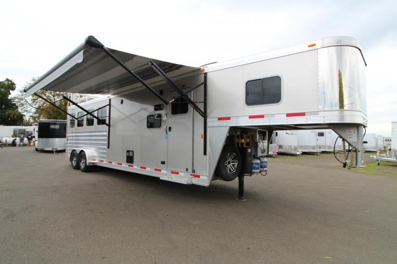 2019 Exiss 7410 - 4 Horse Trailer - 10' Short Wall Living Quarters - Fold Down Bunk - Onan Generator - Hay Rack - Ramp - Easy Care Flooring - Folding Rear Tack